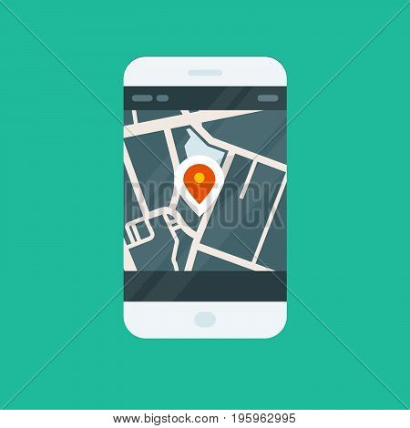 City navigation smartphone app - location on map