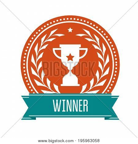 Winner award medal with sport cup and laurel wreath - prize