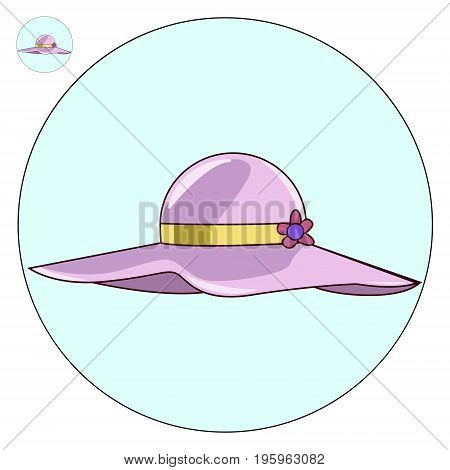 Female beach hat vector icon. Illustration of a logo rest