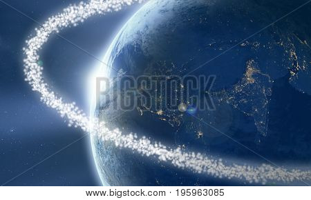 Space junk ring around the Earth viewed from space