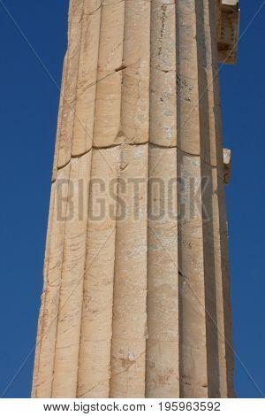 column of the Temple Parthenon at the Acropolis.