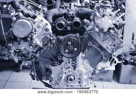 V8 engine assembled on the stand in the service station