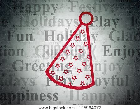 Entertainment, concept: Painted red Party Hat icon on Digital Data Paper background with  Tag Cloud