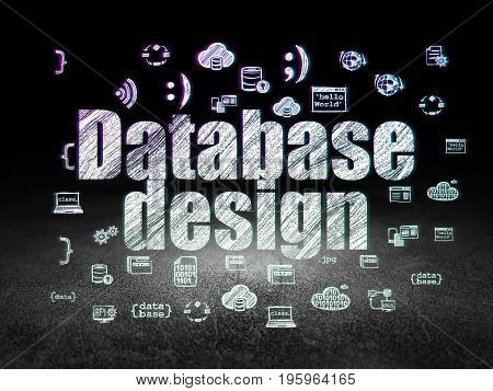 Software concept: Glowing text Database Design,  Hand Drawn Programming Icons in grunge dark room with Dirty Floor, black background