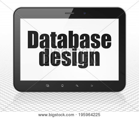 Programming concept: Tablet Pc Computer with black text Database Design on display, 3D rendering