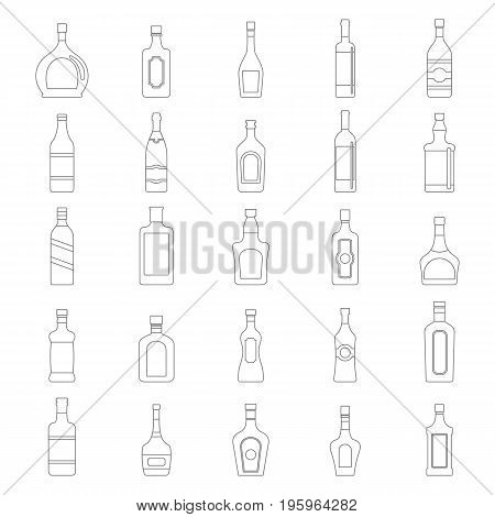 Alcoholic Drinks Bottles Large Vector Set in black simple line style. Elements for alcohol design and web