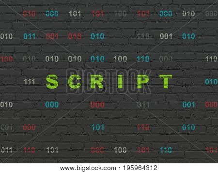 Programming concept: Painted green text Script on Black Brick wall background with Binary Code