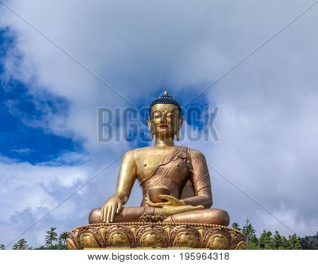 Closeup View Of Giant Buddha Dordenma Statue With The Blue Sky And Clouds Background, Thimphu, Bhuta