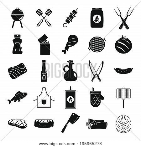 Bbq grill black simple silhouette decorative icons set with barbeque and cooking utensil isolated vector illustration in silhouette style for web