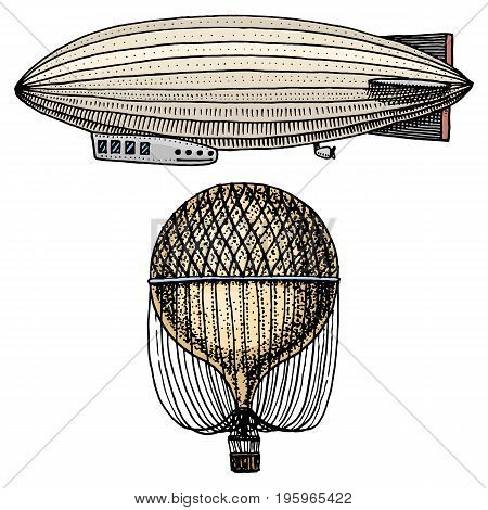 airship or zeppelin and dirigible or blimp, air balloon or aerostat illustration. For travel. engraved hand drawn in old sketch style, vintage transport
