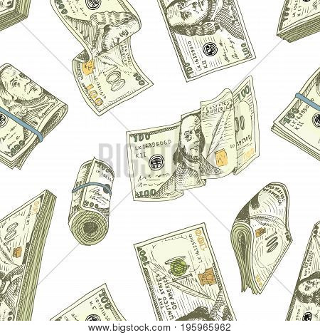 Detailed currency banknotes or american Franklin Green 100 dollars or cash and coin. engraved hand drawn in old sketch style, vintage money bill icons. Seamless pattern. Bag or purse of gold