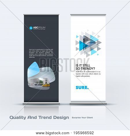 Abstract business vector set of modern roll Up Banner stand design template with grey soft, rounded shapes for eco, market, exhibition, show, expo, presentation, parade, events.