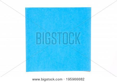 Blue color paper sheet on white background used for decoration or design element
