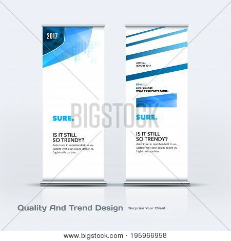 Abstract business vector set of modern roll Up Banner stand design template with blue soft, rounded shapes for eco, market, exhibition, show, expo, presentation, parade, events.