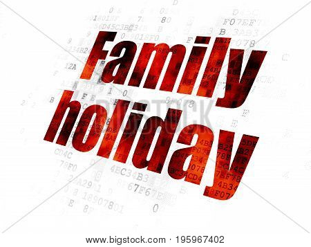 Travel concept: Pixelated red text Family Holiday on Digital background