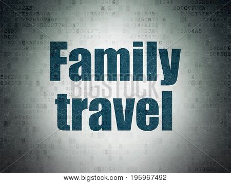 Tourism concept: Painted blue word Family Travel on Digital Data Paper background