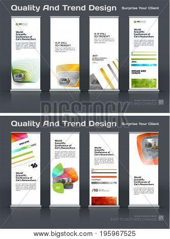 Abstract business vector set of modern roll Up Banner stand design template with colourful soft, rounded shapes for eco, market, exhibition, show, expo, presentation, parade, events.