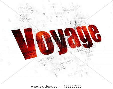 Travel concept: Pixelated red text Voyage on Digital background