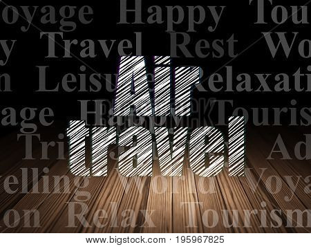 Travel concept: Glowing text Air Travel in grunge dark room with Wooden Floor, black background with  Tag Cloud