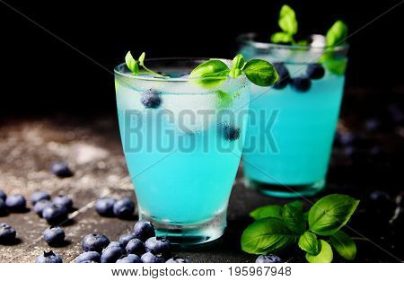 citrus lemonade blueberries and ice cubes and Basil