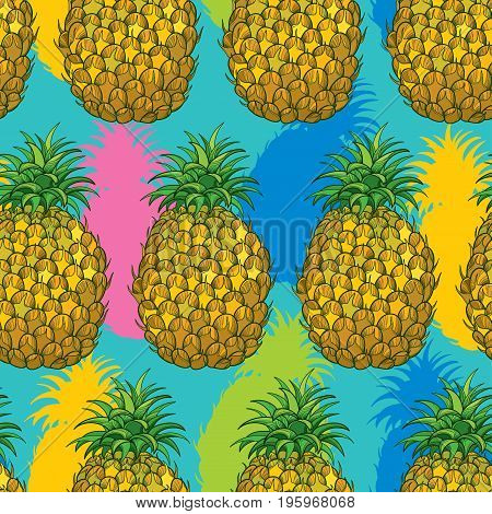 Vector seamless pattern with outline Ananas or Pineapple in bright color on the turquoise background. Fruit pattern with perennial tropical plant in contour style for exotic summer design.