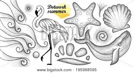 Vector summer set in dotwork style. Dotted whale, flamingo, waves, seashell, starfish, pebble, swirl in black isolated on white background. Aquatic theme with marine fauna for summer design or tattoo.