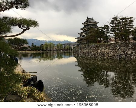Ancient Matsumoto Castle on the lake in Matsumoto City in Japan