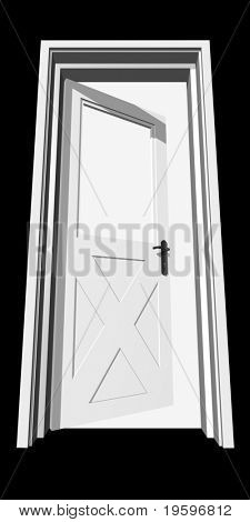 High resolution conceptual 3D opened door isolated on black