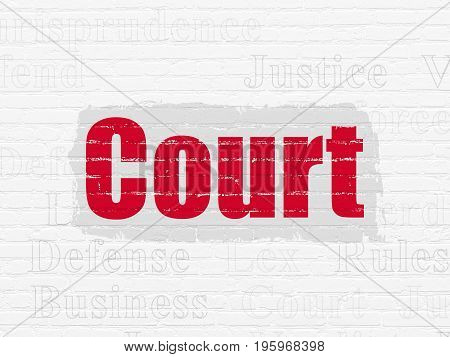 Law concept: Painted red text Court on White Brick wall background with  Tag Cloud