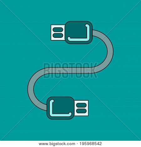 flat icon on stylish background usb cable