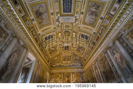 Detail interior view of ceiling art of Castle Saint Angelo. Rome. Italy. June 2017