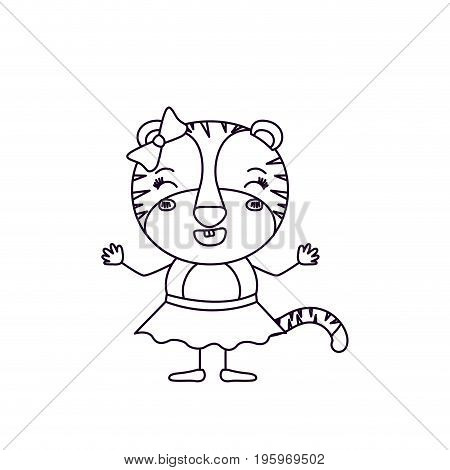 sketch silhouette caricature of female tigress in skirt with bow lace and smiling expression vector illustration poster