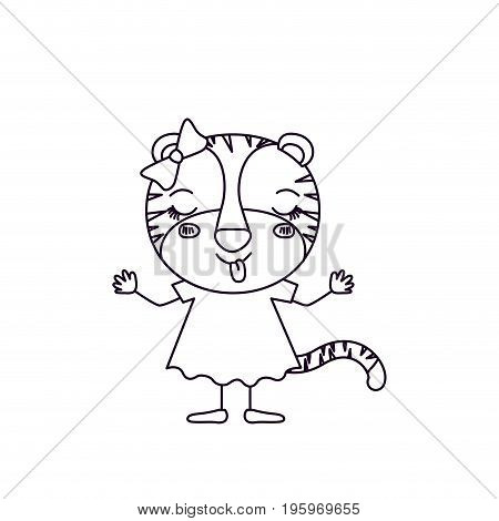 sketch silhouette caricature of female tigress in dress with bow lace and eyes closed expression of happiness vector illustration
