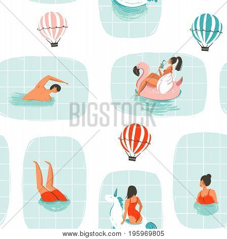 Hand drawn vector abstract cartoon summer time fun illustration seamless pattern with swimming people in swimming pool with hot air balloons isolated on white background.