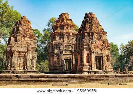 Preah Ko temple in Angkor Wat complex, Siem Reap, Cambodia. Ancient Khmer architecture, famous Cambodian landmark, World Heritage