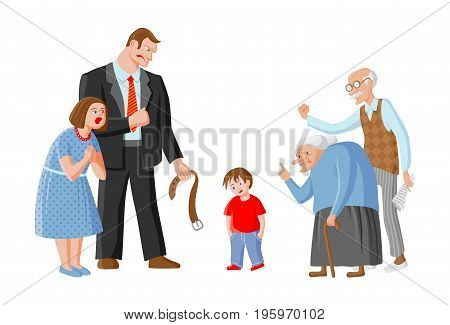 Family scolds their child. Father mother grandpa and grandma punish boy for mischief. Illustration depicts education domestic violence and child abuse. Image in red blue brown grey black colors