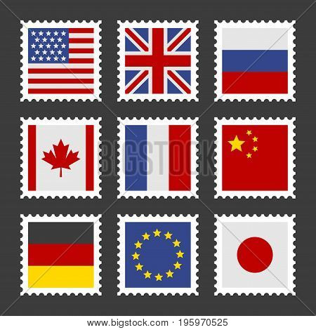 Postage Stamps Set with Different Country Flags. Vector illustration