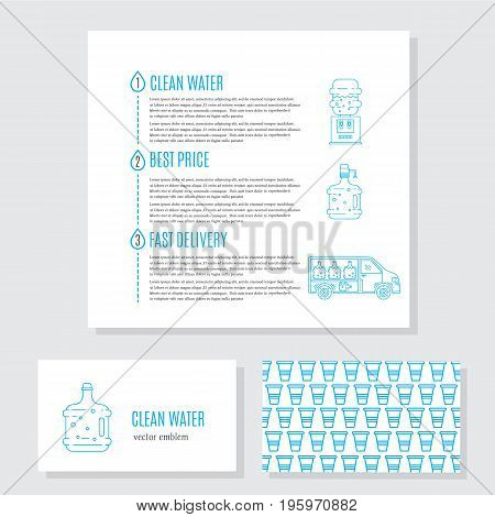 Vector set of logo design templates, business card and signs for identity - water delivery service. Infographic with clean water, best price, fast delivery concept.