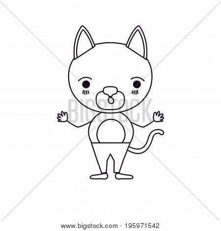 sketch silhouette caricature of cute cat surprised expression in pants vector illustration