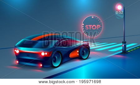 the car stopped at a red light before the pedestrian crossing. In front of the car illuminates the hologram of a stop sign. Crosswalk or junction. futuristic concept of road safety. VECTOR