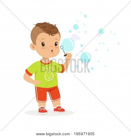 Cute little boy playing with bubble blower vector Illustration isolated on a white background