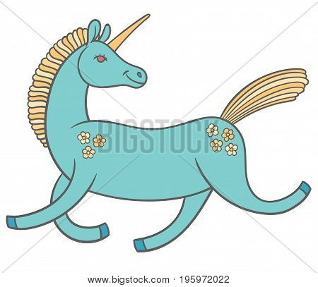 cute cartoon unicorn in a good mood rides jumps and smiles