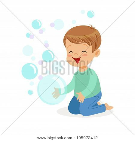 Happy boy kneeling playing bubbles vector Illustration isolated on a white background