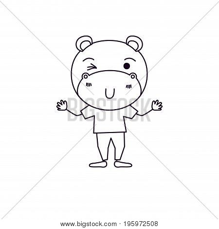 sketch silhouette caricature of cute hippopotamus wink eye expression in clothes vector illustration