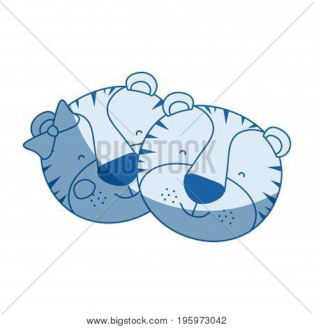 blue color shading silhouette caricature faces of tiger couple animal happiness expression vector illustration