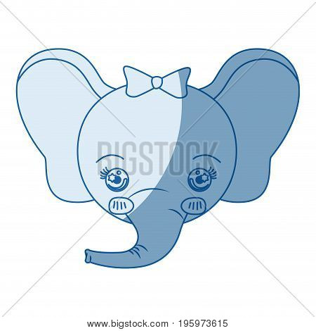 blue color shading silhouette caricature face of female elephant animal happiness expression vector illustration