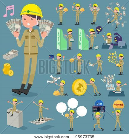 Flat Type Helmet Construction Worker Woman_money