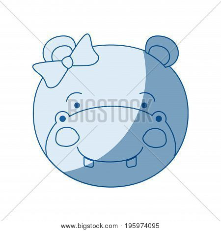 blue color shading silhouette caricature face of female hippo animal with bow lace vector illustration