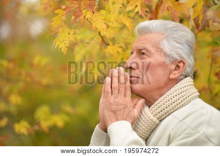 Portrait of thoughtful elderly man praying  on yellow autumn background