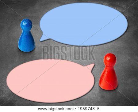 Human Hands Holding White Speech Bubble Over Blue Background - Balloon speech bubble concept